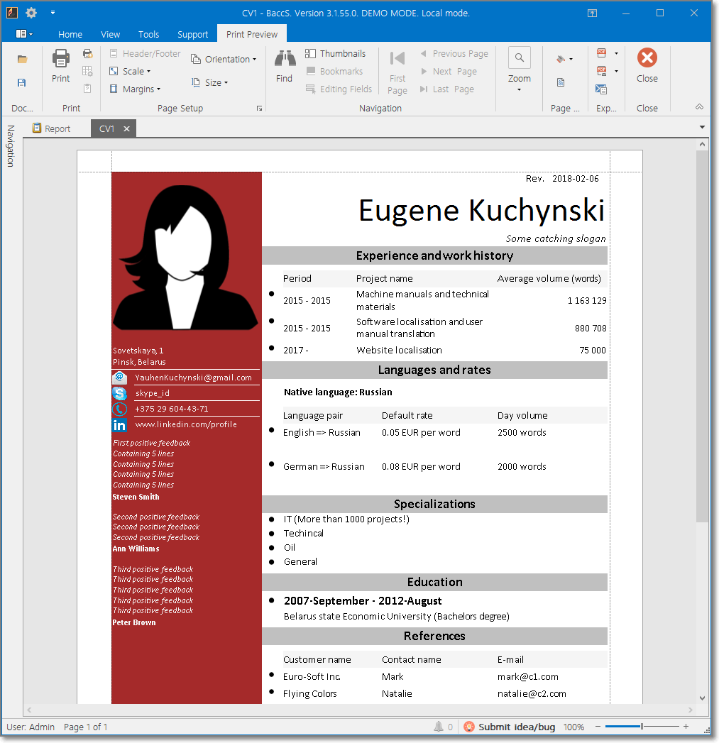 Third default translation CV template