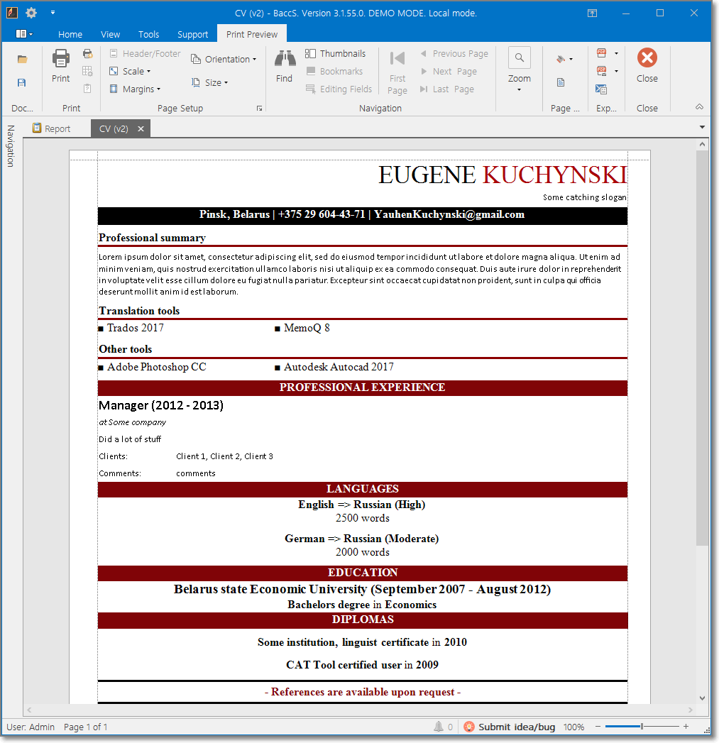 Second default translation CV template