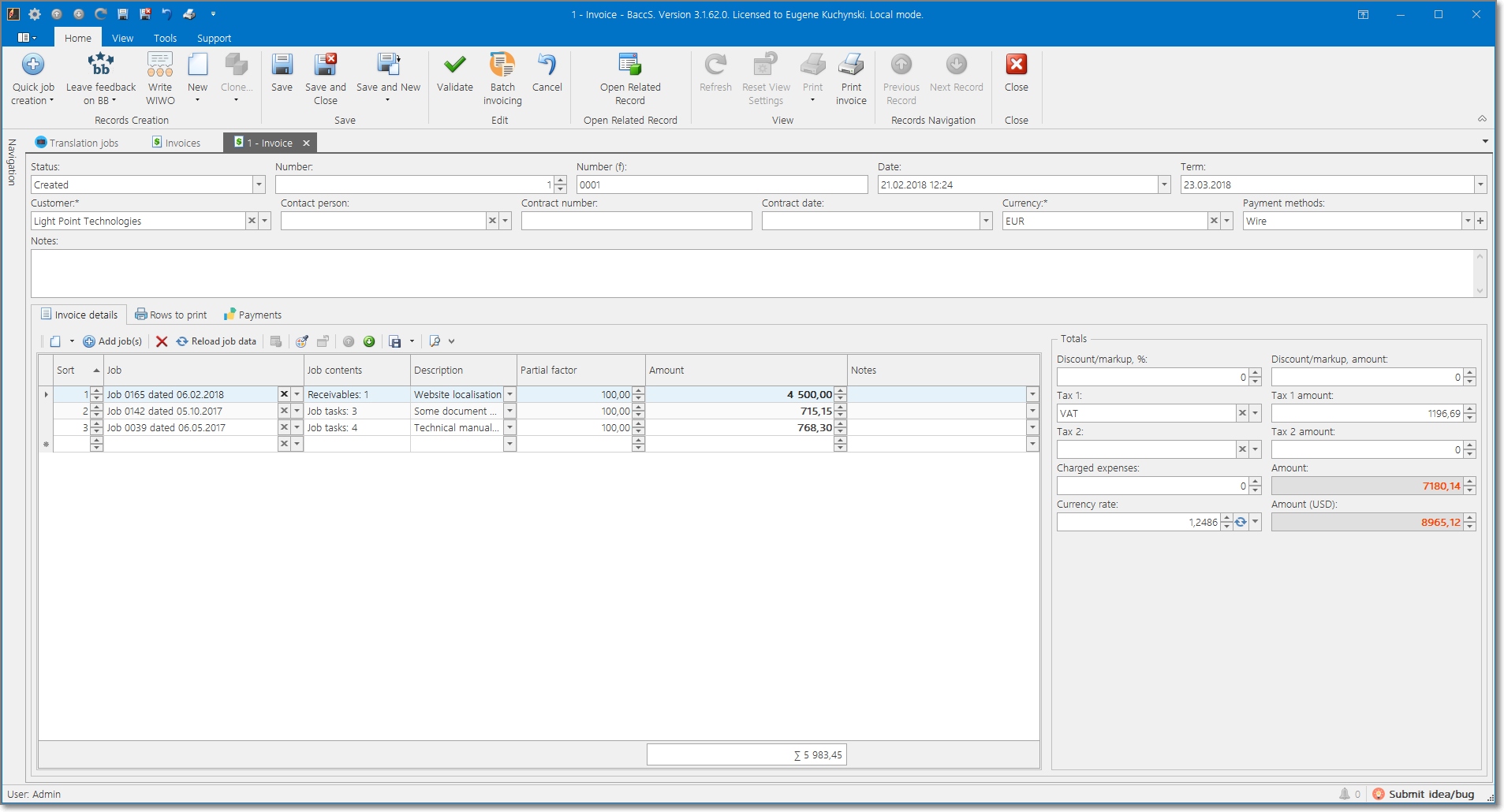 Invoice editing in BaccS - translation project management software for freelancers