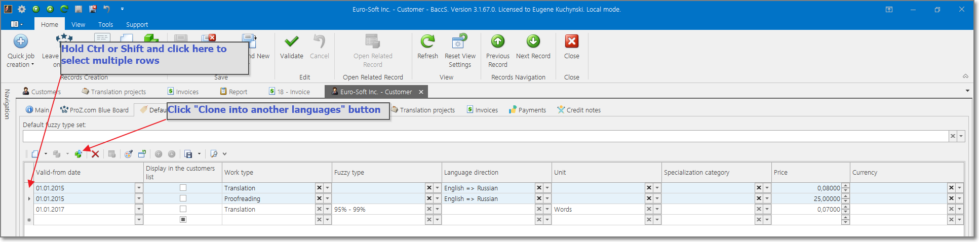 Effective translation project management by setting default price list for customers