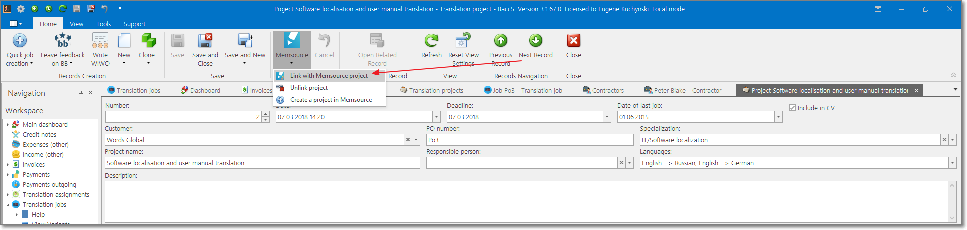 Integration with Memsource translation management software